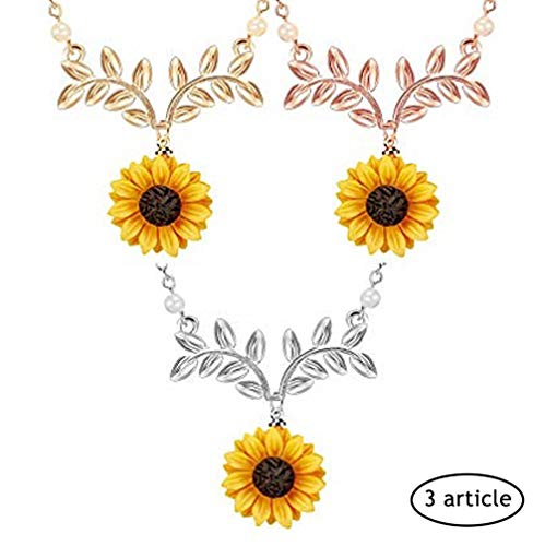 sunflower pendant 3 pcs gold silver rosegold elegant fashion Necklaces sunflower resin necklace leaf chain for girls Holiday gift jewelry