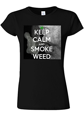 細部負幽霊Kep Calm And Smoke Weed High Novelty Black Women T Shirt Top-XXL