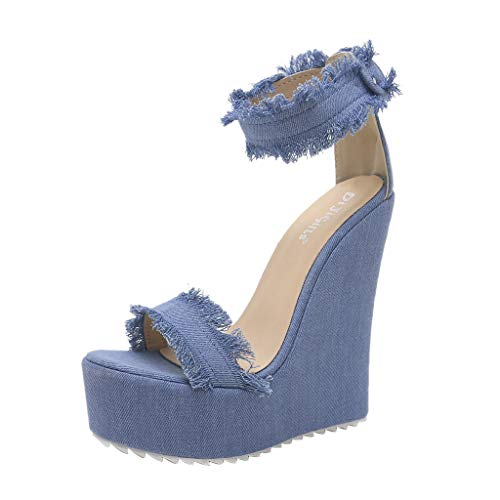 - Claystyle Women Size 8 Denim Open Toe Wedges Shoes Buckle Color Summer Bohemia Super High Sandals Blue