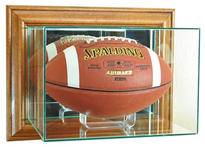 Brown Football Display Case (NFL Wall Mounted Football Glass Display Case, Walnut)
