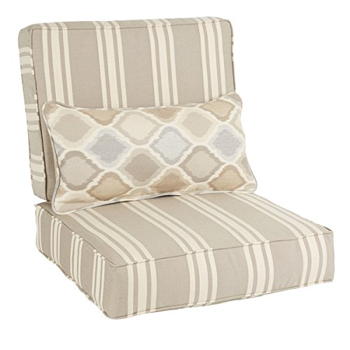 Oakley Sunbrella Striped Indoor/ Outdoor Corded Chair Cushion Set and Lumbar Pillow | Beige, Grey