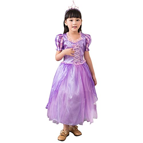 Amur Leopard Kids Halloween Party Costume Dress Little Princess Purple M (Wild West Saloon Girl Costume)