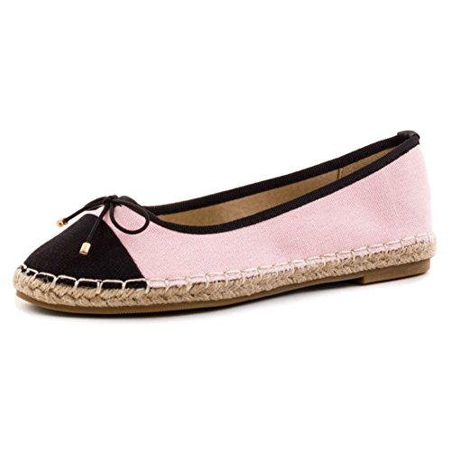Marimo Damen Espadrilles Ballerinas Sommer Slipper Schuhe mit Bast in Textil Pink