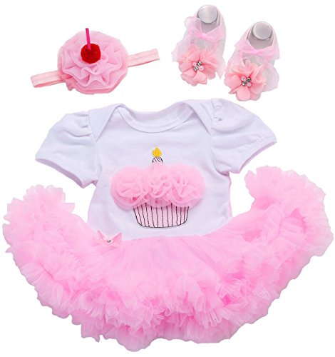 0-3 months baby girl clothes romper dresses swimsuit first birthday outfit girl newborn dress romper clothes little girls clothes tutu birthday cake pink dress with headband and baby shoes 3 PCS sets from Fubin