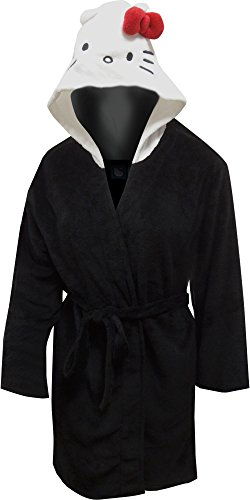 Hello Kitty Black Plus Size Hooded Plush Robe with Kitty Face
