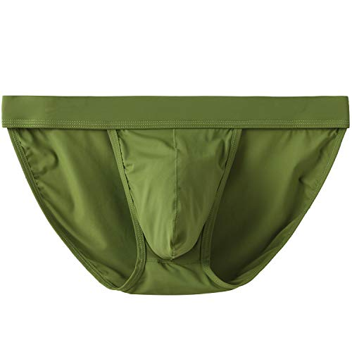 (YuKaiChen Men's Briefs Seamless Underwear Low Rise Bikini Bulge Enhancing Army Green Medium)