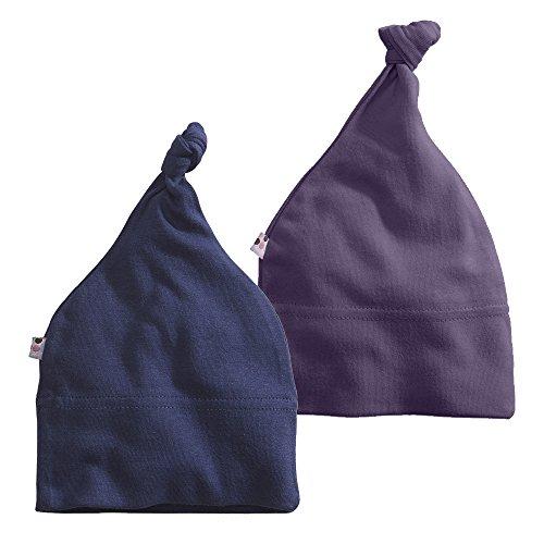 Babysoy Modern Knot Beanie Hat Pack of 2 (6-12 Months, Wine + Indigo)