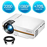 Projector, ELEPHAS 2200 Lumens LED Video Projector, Updated LCD Technology Support 1080P Portable Mini Multimedia Projector Ideal for Home Theater Entertainment Games Parties, Whit