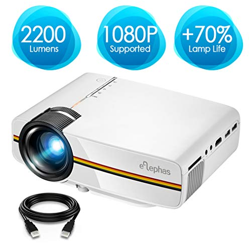 Projector, ELEPHAS 2200 Lumens LED Video Projector, Updated LCD Technology...