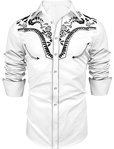 Daupanzees Men's Long Sleeve Embroidered Shirt Luxury Stylish Slim Fit Tops Shirts Casual Button Down Shirts(White S)