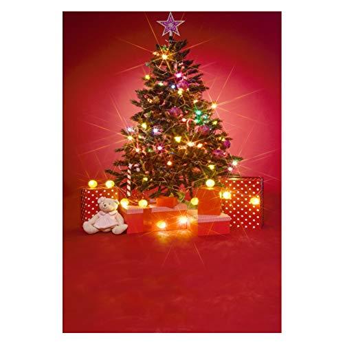 CSFOTO Christmas Backdrop 6.5x8ft Photography Background Xmas Tree Decoration Gifts Fairy Lights Doll Interior Decoration New Year Festival Celebration Kids Xmas Photobooth Studio Props