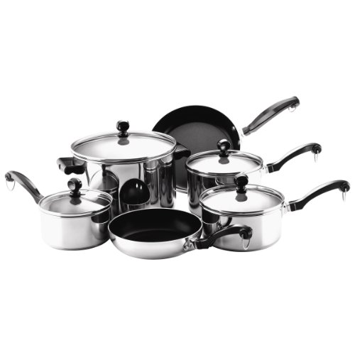 Farberware Classic Series Stainless Steel Nonstick 10-Piece Cookware Set by Farberware