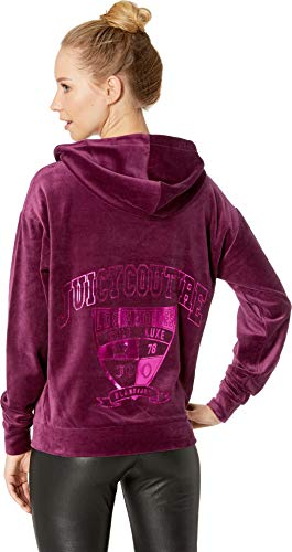 Juicy Couture Women's Velour Collegiate Luxe Hooded Pullover Nightingale Small