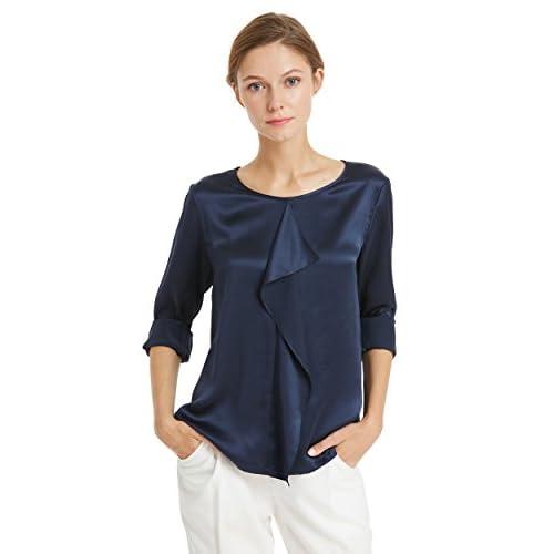 LILYSILK Blouse en Pure Soie Femme Top Manches Longues avec Volant Shirt Uni 22MM