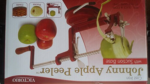 Johnny Apple Peeler with Suction Base VKP1010 by VICTORIO + (1) additional Coring &Slicing Blade VKP1010-2 + (2) additional Peeling Knifes VKP1010-1 by Victorio Kitchen Products (Image #4)