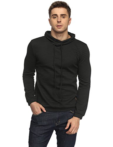HEQU Men's Casual Funnel Neck Square Pattern Quilted Hoodie Pullover Sweatshirt Black...