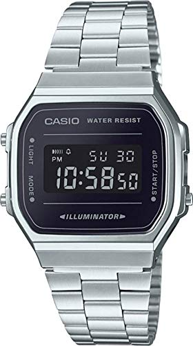 Casio A168WEM-1 Men's Youth Collection Mirror Dial Alarm Chronograph Illuminator Digital Watch