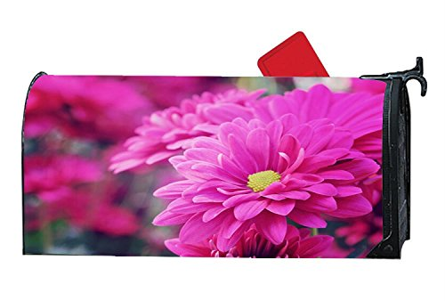 Custom Magnetic Mailbox Cover Pink Chrysanthemum Flowers - Mail Wrap for Standard Mailboxes Size 6.5
