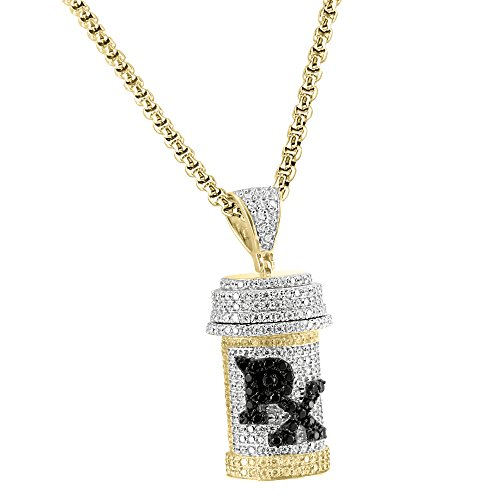 RX Prescription Medicine Pendant Iced Out Gold Finish Sterling Silver Free Chain by Master Of Bling