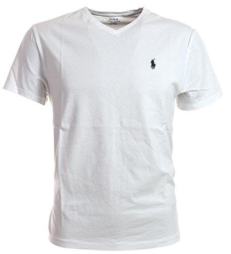 Polo Ralph Lauren Men Classic Fit V-Neck Logo Tee (S, White Navy Pony)