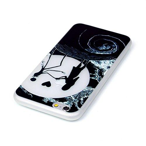 PowerQ Nachtleuchtende Serie Bunte Muster TPU Fall Hülle Case < Moon Couple - für IPhone 6 6S IPhone6S IPhone6 >            Noctilucent Luminous Licht in dunklen Pattern Muster Druck Detailzeichnung Handy-Fall H
