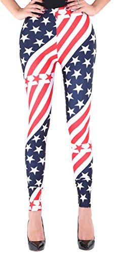[Women's Stars Stripe USA Flag Print Long Leggings National Day Costume XL] (Costumes National Womens Clothing)