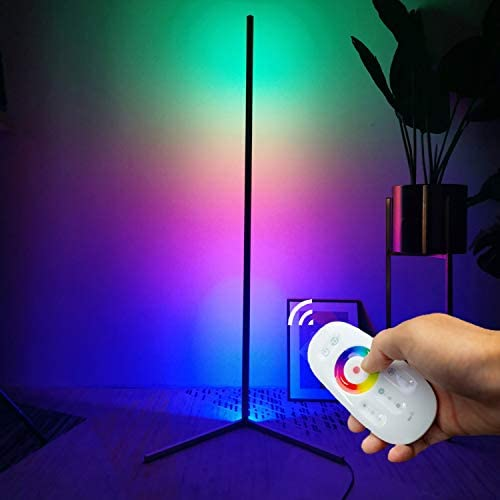 "TACAHE Corner Floor Lamp RGB Color Changing Modern Floor Lamp Dimmable LED 56"" Tall Standing Lamp with Remote Controller Metal Floor Lamps for Living Room, Bed Room 20W - Black"