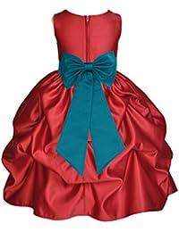 74898d6e300b6 Satin Pick-Up Apple Red Flower Girl Dresses Christmas Dresses Holiday  Dresses Pageant Dresses 208T
