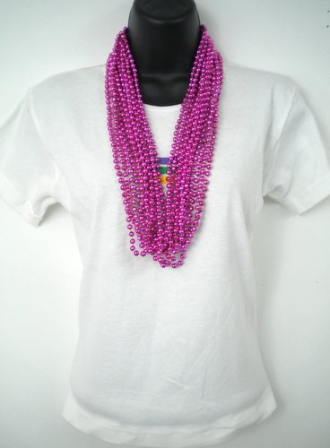 33 inch 07mm Round Metallic Hot Pink Mardi Gras Beads - 6 Dozen (72 necklaces)