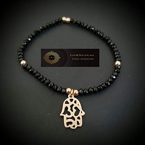 Black Hematite Bead Hamsa or Snake Bracelet 925 Sterling Silver