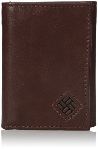 Columbia Men's RFID Leather Wallet - Big Skinny Trifold Vertical Security Protection Credit Card Slots and ID Window, Brown -