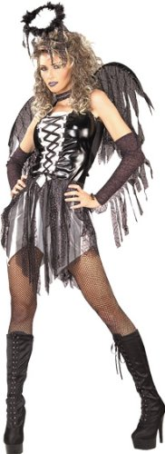 Secret Wishes Women's Enchanting Creature Adult Fallen Angel Costume, Black/White, Small]()