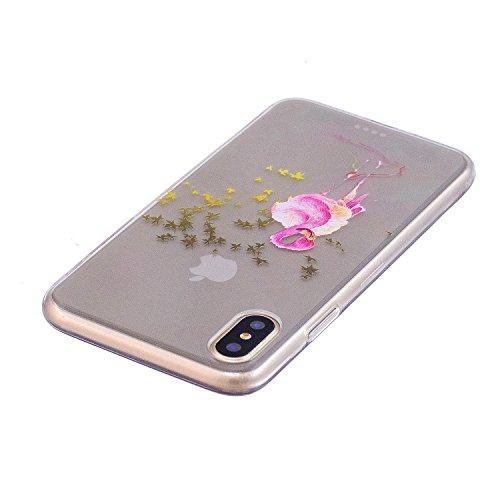 inShang funda para iPhone X 5.8inch funda del teléfono móvil, anti deslizamiento, ultra delgado y ligero, Estuche, Cubierta, carcasa suave hecho en el material de la TPU, cómodo Case Cover for iPhone  Maple Flamingo