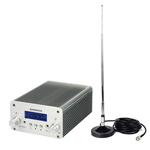 Retekess  TR502 5W 15W FM Transmitter Long Range Wireless Broadcast Stereo Station PLL Wireless Music with AUX in Line Antenna for Church Car (Silver)