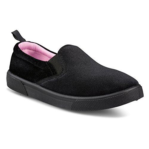 Chillipop Velvet Fashion Sneakers for Girls & Toddlers  Slip-On Tennis Shoes,Black-2,10 M Toddler (Lace Velvet Up Shoe Black)