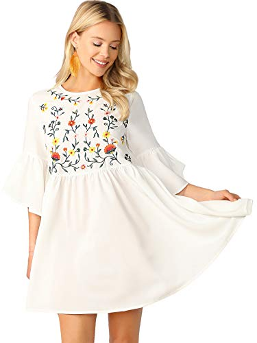 Floerns Women's Embroidered Floral Bell Sleeve A Line Tunic Dress White XS