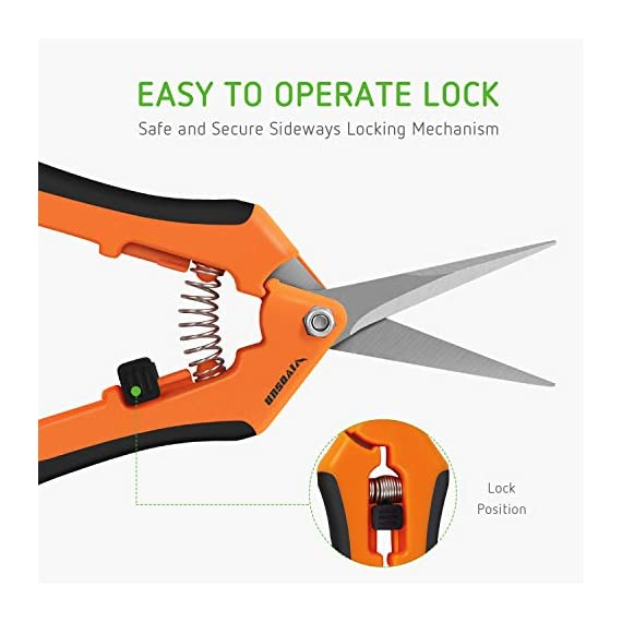 VIVOSUN Gardening Hand Pruner Pruning Shear 3 REDUCE HAND STRAIN: These micro tip snips are built spring-loaded so that they automatically push themselves open without you having to do the work which greatly reduces hand fatigue making these snips great for those with arthritis, carpal tunnel, hand or wrist issues. Comfort Grip handles will make it easy to work for long periods of time without discomfort ULTRA SHARP BLADES: These quality snips come with stainless steel precision-sharpened blades and are ready to tackle all of your deadheading, trimming, and shaping needs for your roses, annuals, vegetable and small flower gardens SECURE, EASY TO OPERATE LOCK: These micro tip snips feature a safe and secure sideways locking mechanism that keeps your blades protected and closed when not in use. The design of these pruning snips are perfect to use whether you are right or left handed with ease