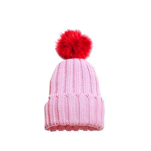97fd6af45 Faux Fur PomPom Kids Knitted Winter Beanie Hat: Amazon.co.uk: Clothing