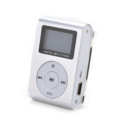 Silver Mini MP3 Player Clip USB FM Radio LCD Screen Support for 32GB Micro SD (Player Creative Case Digital)