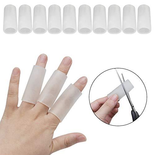 ((10 PCS) Finger Protectors, Gel Finger Cots, Silicone Finger Sleeves Thumb Protectors Finger Covers Protection for Trigger Finger, Hand Eczema, Finger Cracking (Clear))