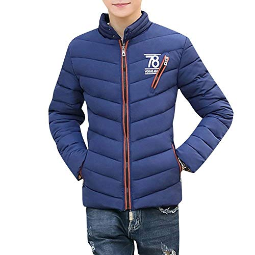 Thick Battercake Long Coat Warm Navy Parka Jacket Blau Stand Men's Short Collar Down Coat Quilted Comfortable Quilted Winter Jacket Sleeve Jacket Light 4rOAYwqrx
