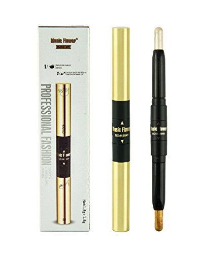 Frola Double Ended Shimmer Stick Gold Highlighter Pencil Bronzer Coutour Cream Brighten Face (3# Champagne Gold)