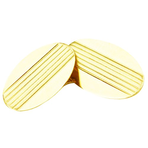 14k Yellow Gold Oval Cufflinks with Lines (Designer Gold Cufflinks 14k)