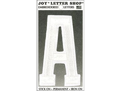 Joy JOY36001 Applique Letter Iron On Varsity White A, (Varsity Applique)
