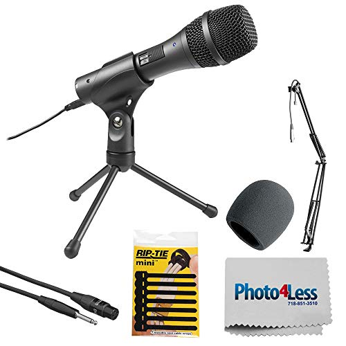 Audio-Technica Cardioid Dynamic Handheld USB/XLR Microphone AT2005USB + Broadcast/Webcast Boom Arm with XLR Cable + Accessories