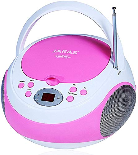 Jaras JJ-Box89 Pink/White Sport Portable Stereo CD Player with AM/FM Stereo Radio and Headphone Jack Plug
