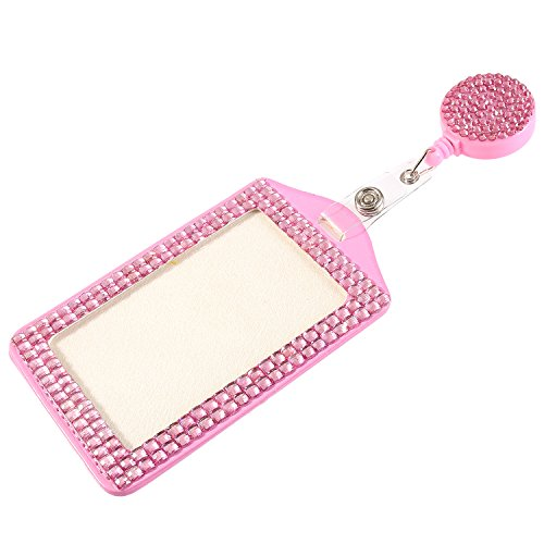 (Global_Shopper Purely Handmade Fashion Pink Bling Crystal Lanyard Cute Rhinestone Badge Reel + Vertical Card Holder for Business Id)