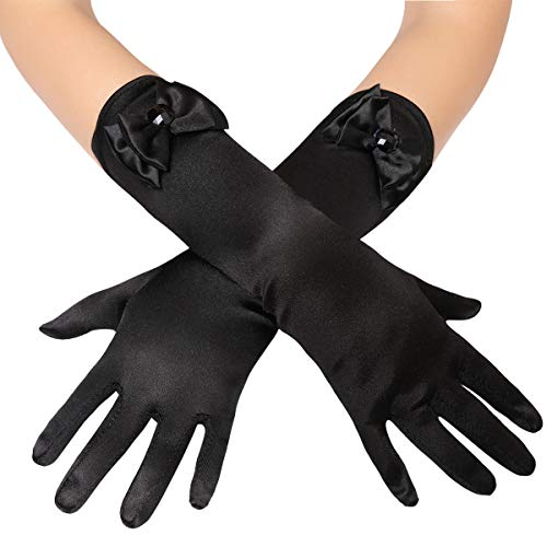 BABEYOND Girls Long Opera Dress-up Gloves Princess Satin Gloves Stretchy Bows Gloves Kids Size for Party Photography Elbow Length (Black)