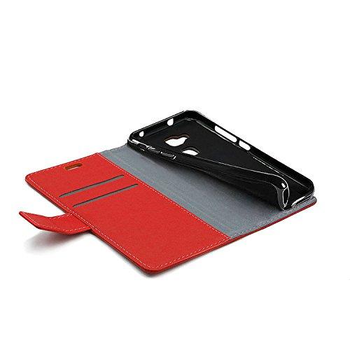 Funda para Moto G6 Plus,SunFay Premium Cuero PU Cover Magnético Flip Folio Ranura para Tarjetas Protective Billetera Funda Case con Stand Función para Moto G6 Plus - Rojo Rojo