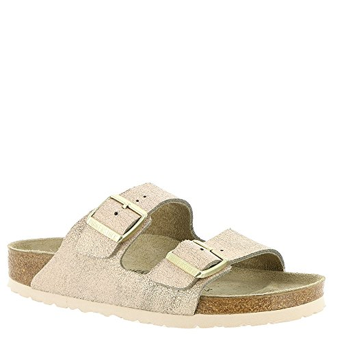 (Birkenstock Women's Arizona Sandal Washed Metallic Rose Leather Size 40 N EU)
